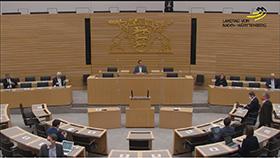 Plenarsaal mit den Spitzenkandidatinnen und Spitzenkandidaten